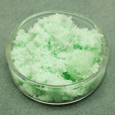 Green crystals of iron sulfate.